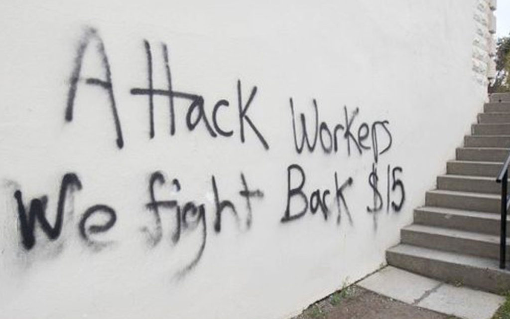 vandalized wall