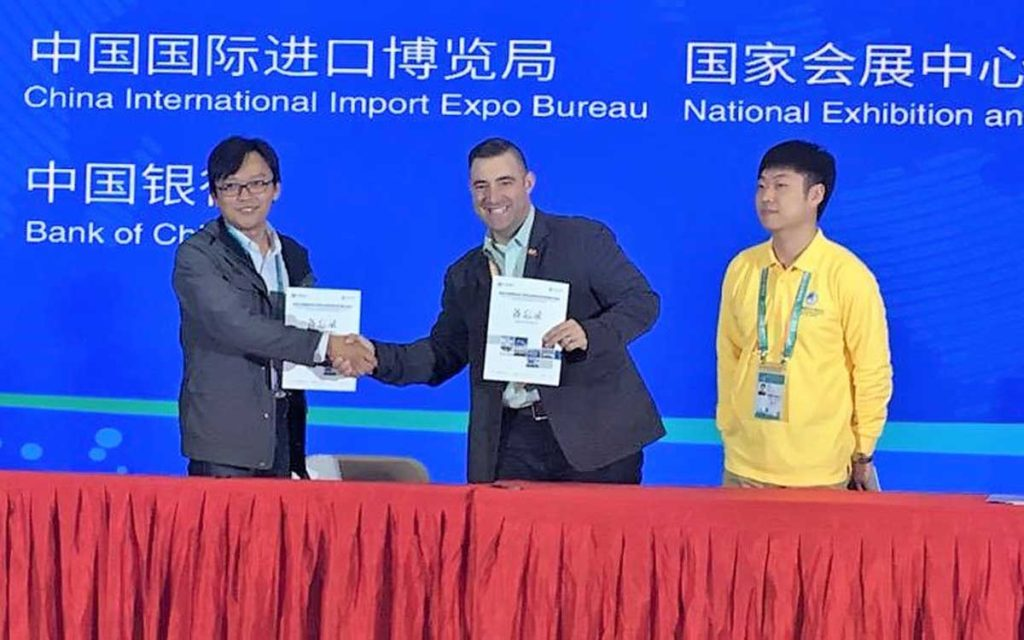 Anthony D'Aprile (centre) of Bench Brewing Company in Beamsville was part of the Niagara delegation that recently attended a large import expo in China.