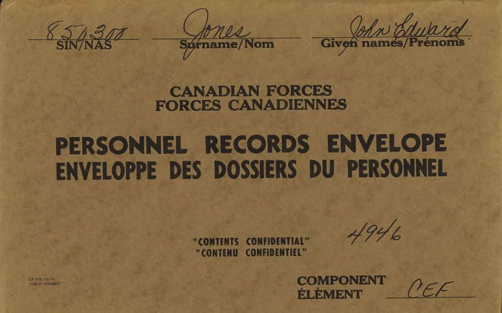 personnel records card