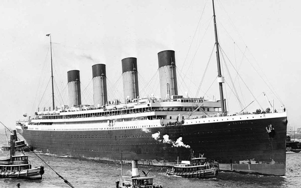 The RMS Olympic docked in New York City in 1911.