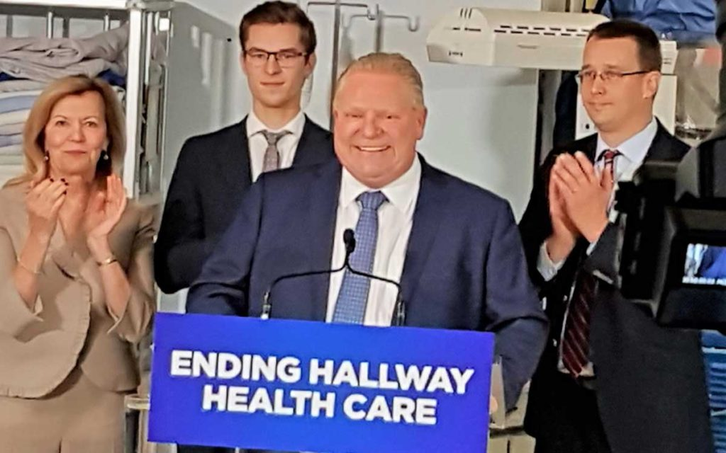 In a packed room in the bowels of the hospital, Premier Ford, along with Health Minister Christine Elliott, Minister of Infrastructure, Monte McNaughton and local MPP Sam Oosterhoff, announced the government will be moving immediately to start on major renovations and planning for a new hospital.