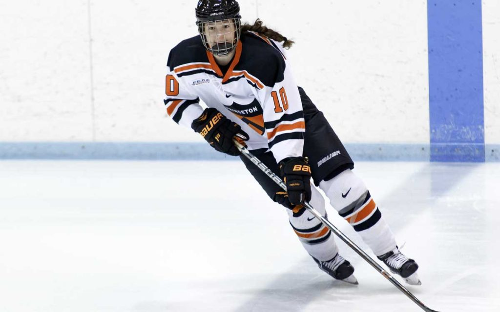 Sarah Verbeek seen here playing for Princeton University, is one of 11 women whose names will be on the women's hockey wall of fame being unveiled Saturday.