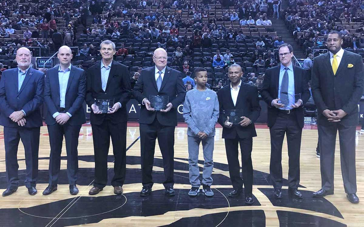 Ken Murray recognized at Monday night's Toronto Raptors game.