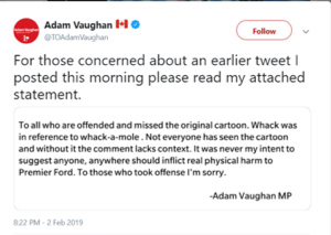 adam vaughan's deleted tweet