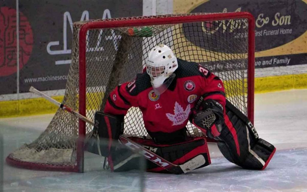 Niagara Falls goalie Zachary Moore will look to backstop the top-seeded Canucks through the semi-finals against Pelham.