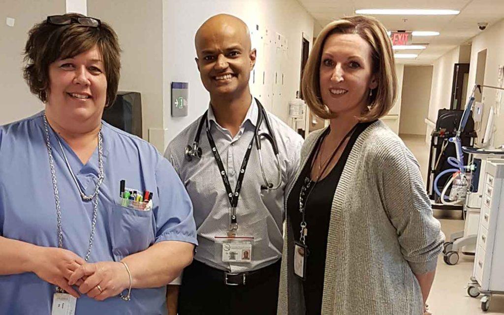 Karen (Charge Nurse), Dr. Hari Vasan and Elayn (Clinical Manager – ICU)
