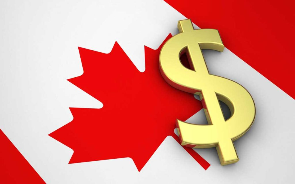 canadian flag with dollar sign
