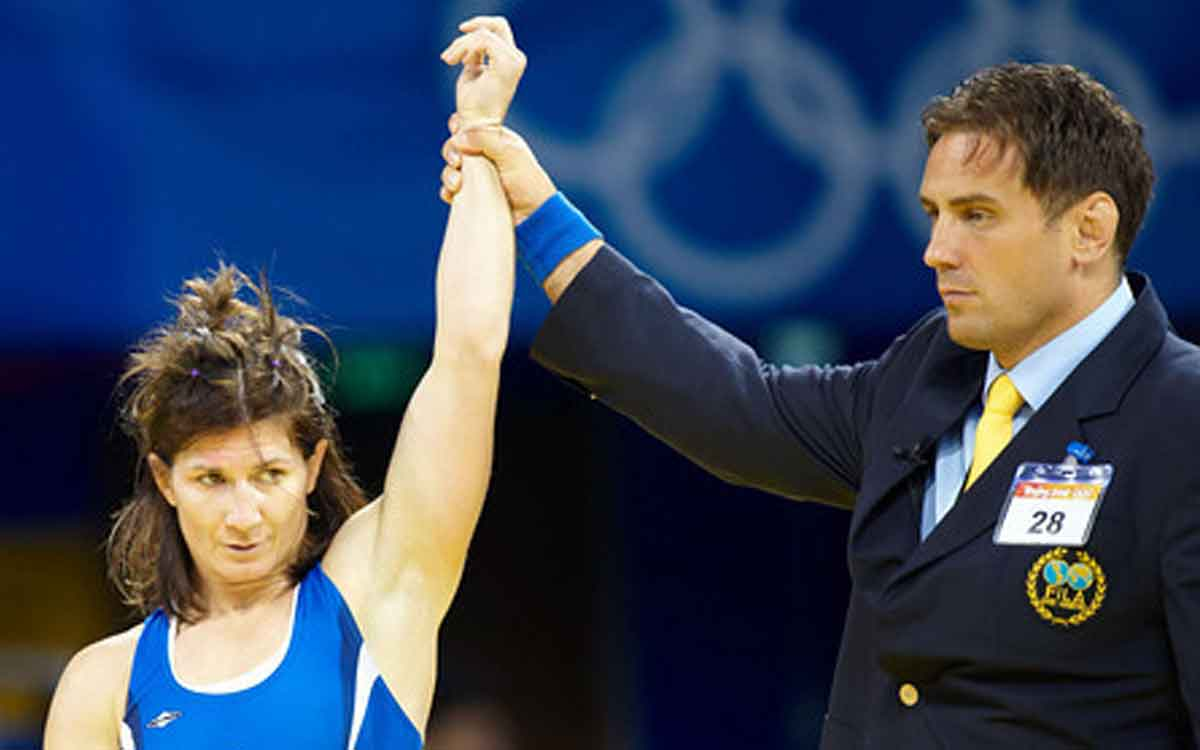 Tonya Verbeek at an Olympic wrestling match