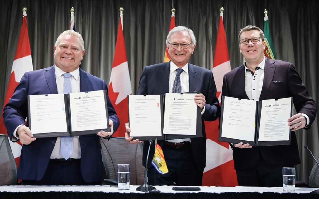 Ontario Premier Doug Ford, New Brunswick Premier Blaine Higgs and Saskatchewan Premier Scott Moe.