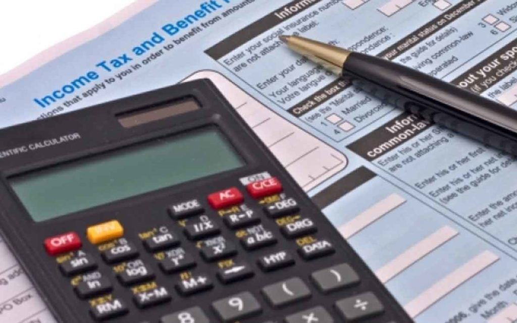 tax form and a calculator