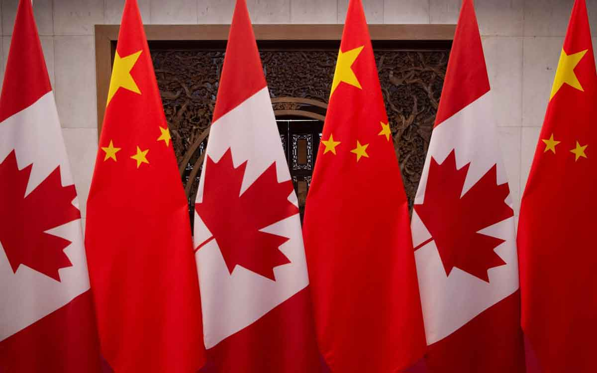 Canada flags and China flags