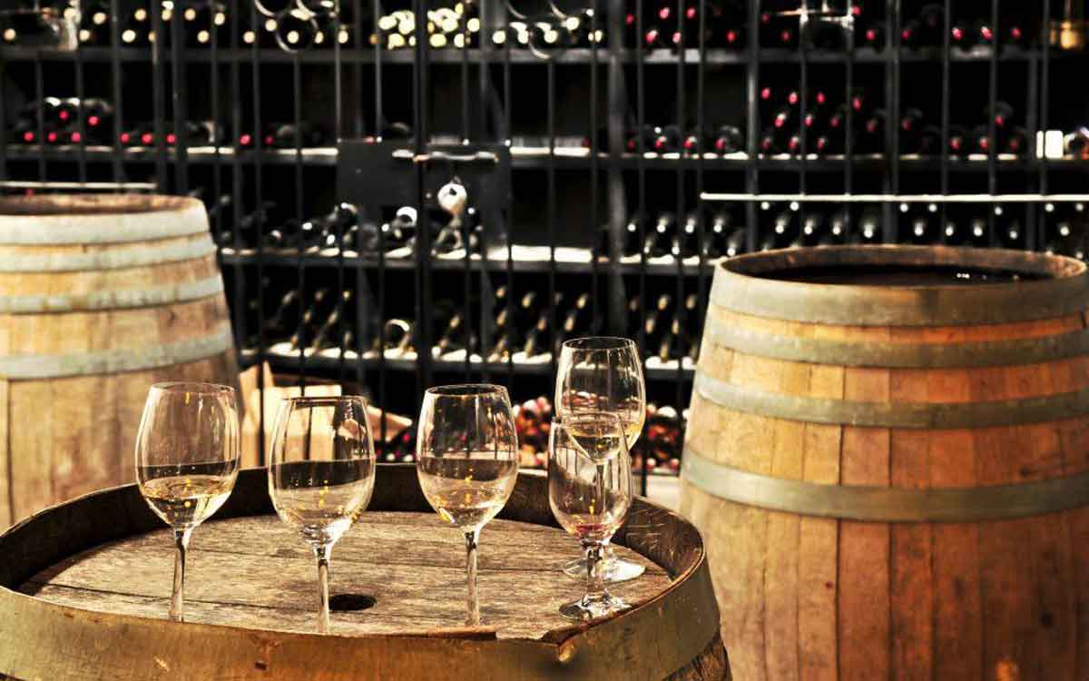 wine glass and barrels
