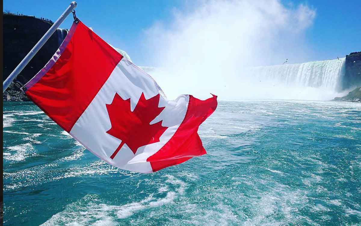 Canadian flag at Niagara Falls