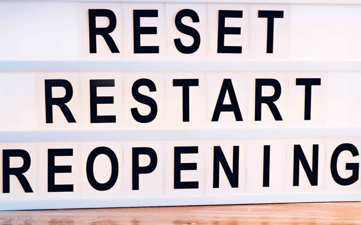 reset, restart, reopen