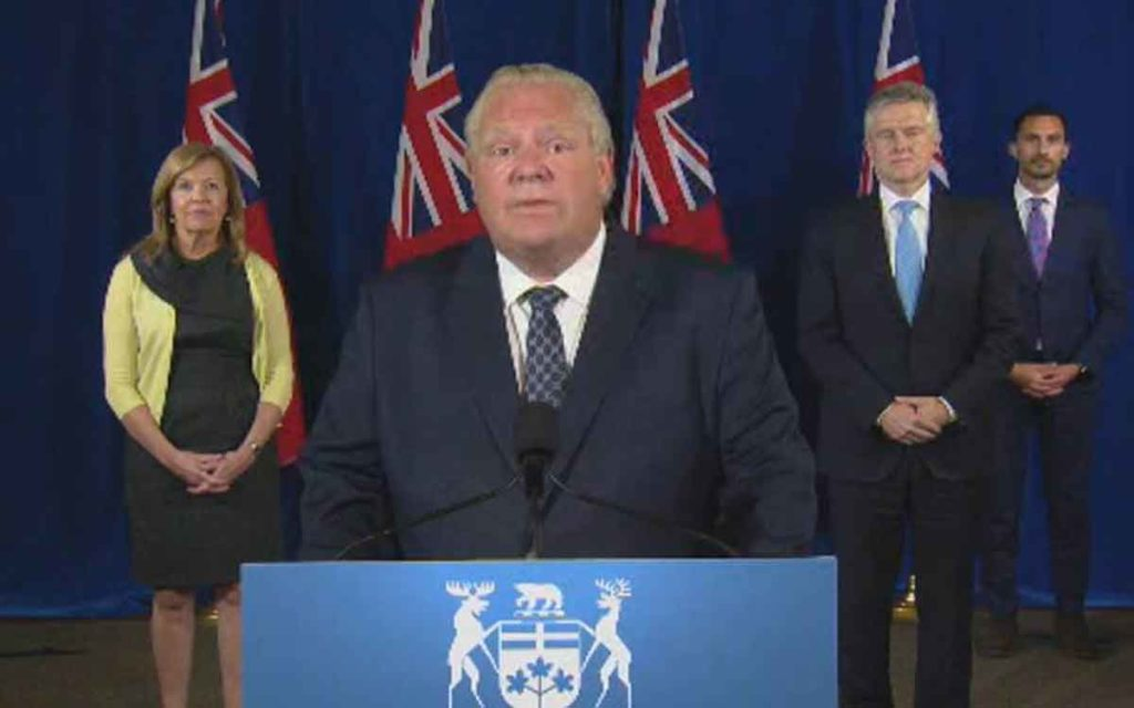 premier ford and ministers at stage press conference