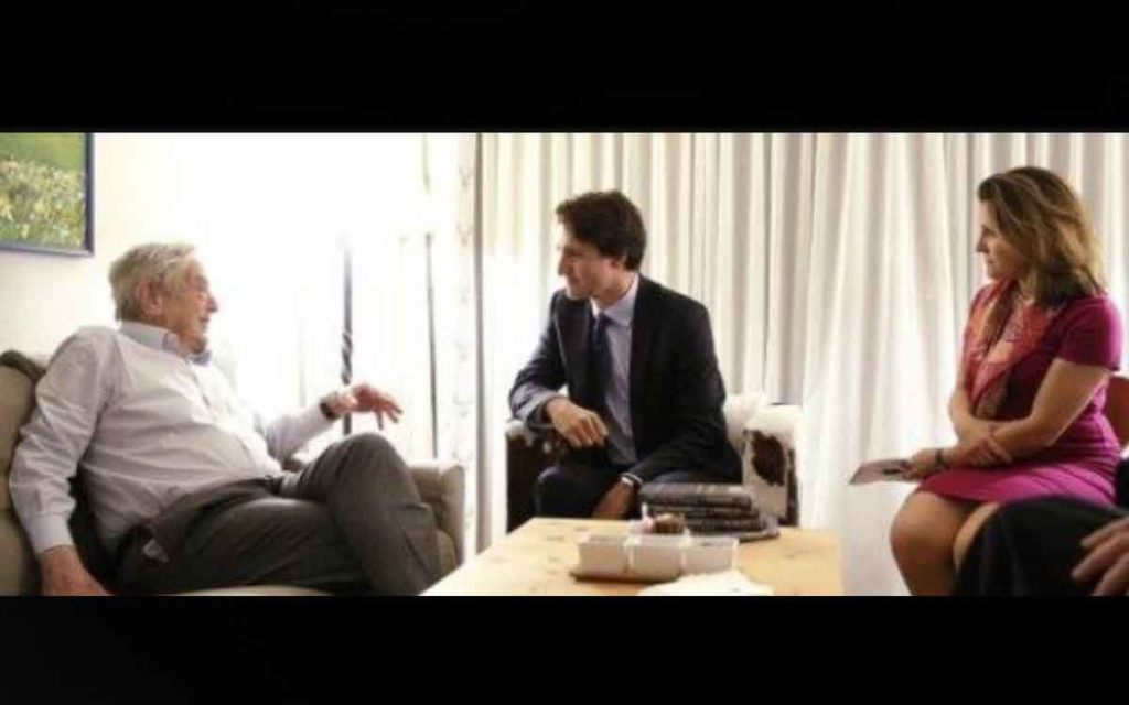 soros, pm trudeau and minister freeland meeting