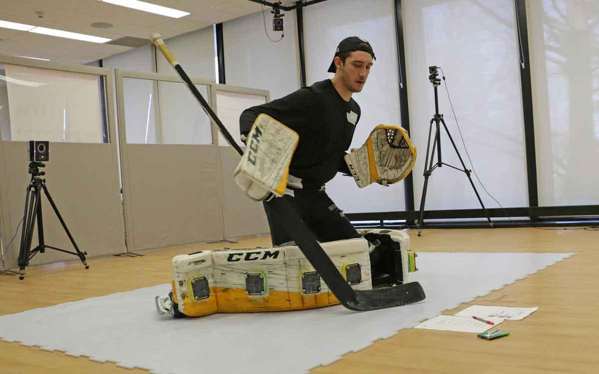 Colin Dunne as he performs a goaltending move as part of a kinesiology research study.