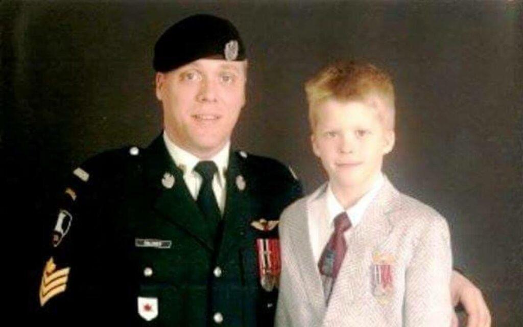 Sergeant Garrick Halinen with his son