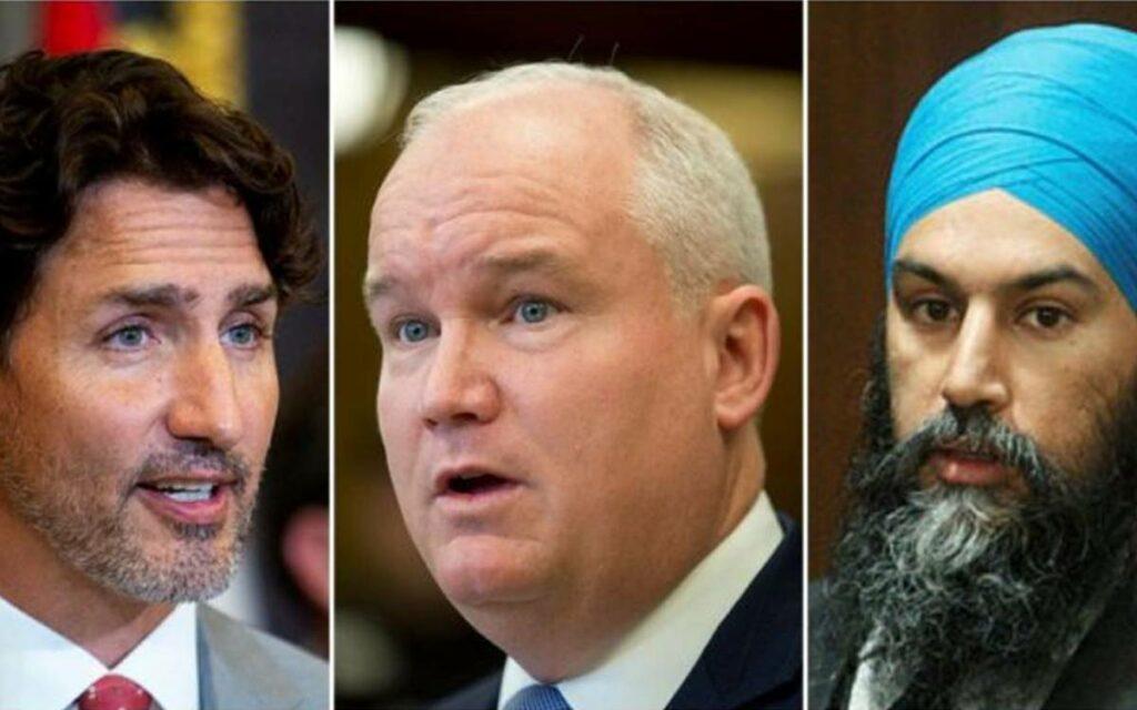PM Trudeau, O'Toole and  Singh