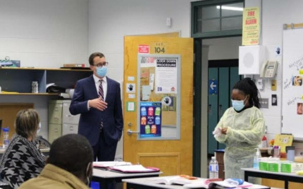 Minister McNaughton in a classroom