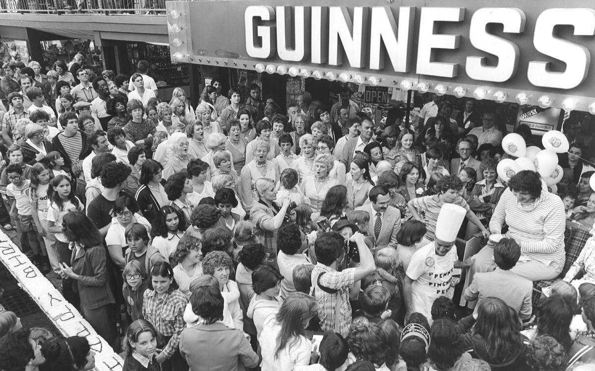 crowd gathered outside of the Guinness World Records museum