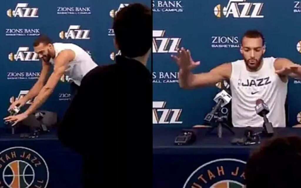 Rudy Gobert touching all the microphones