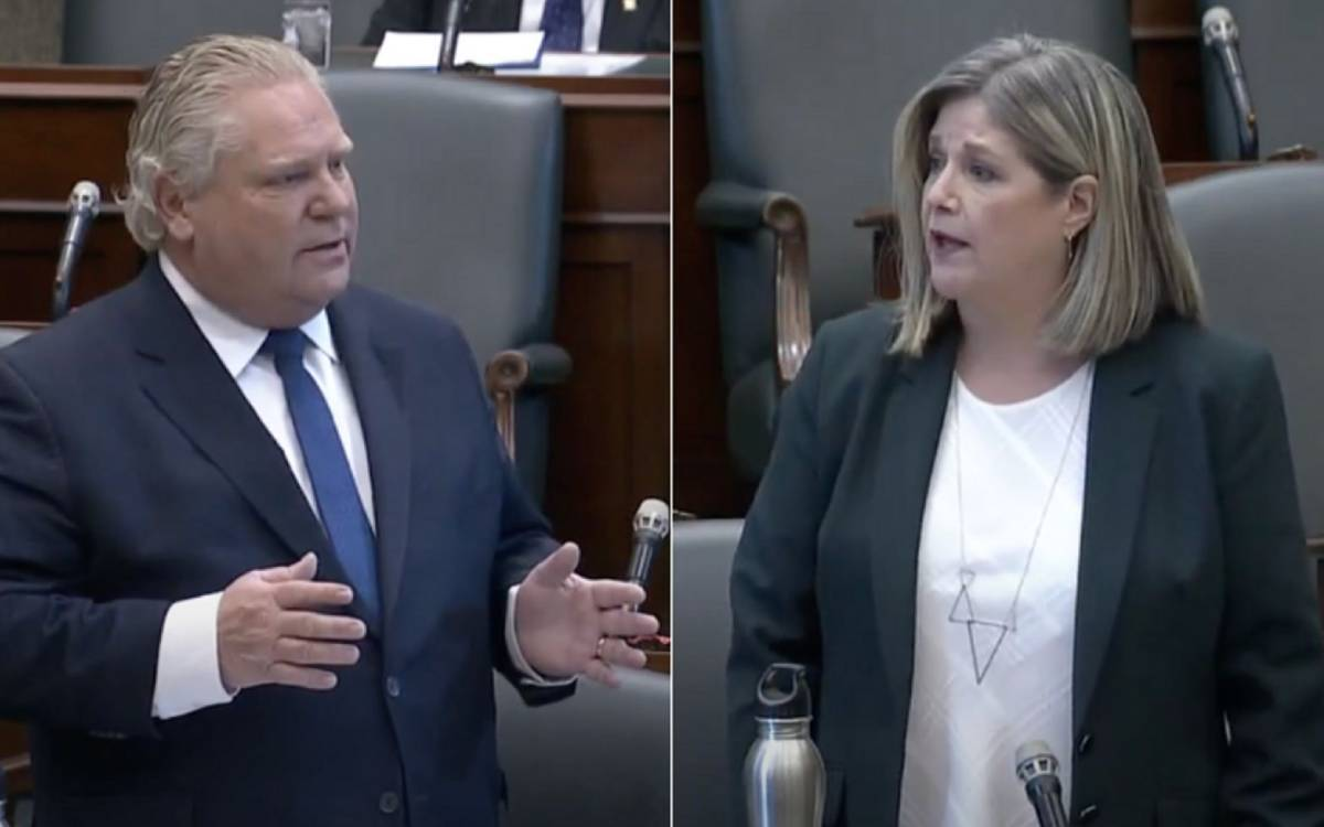 Premier Ford and Leader of the opposition Andrea Horwath