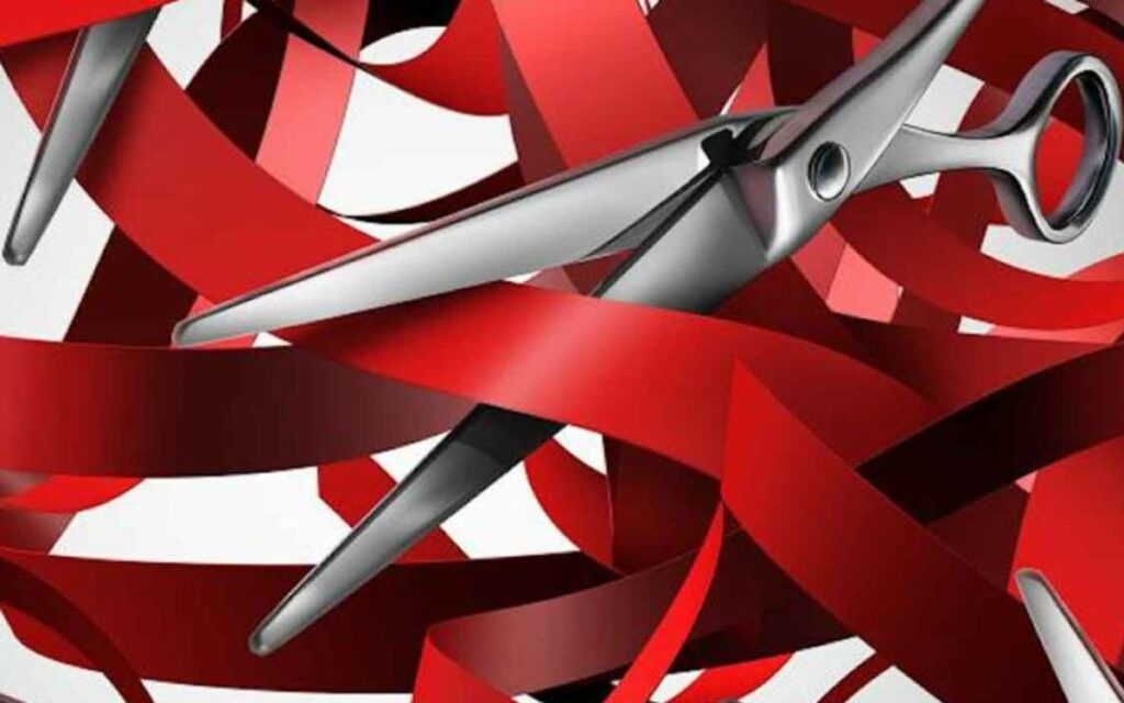 red ribbon and scissors
