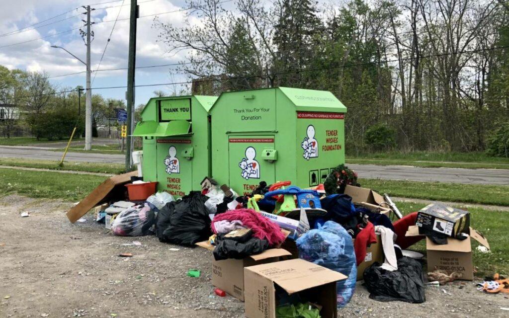 donation bins overflowing