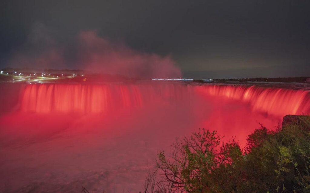 Niagara Falls in red