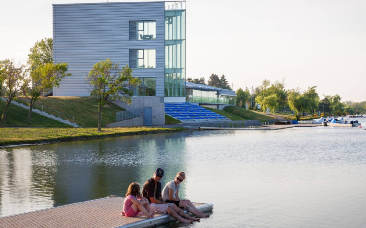 people sitting on the dock at the Welland International Flatwater Centre