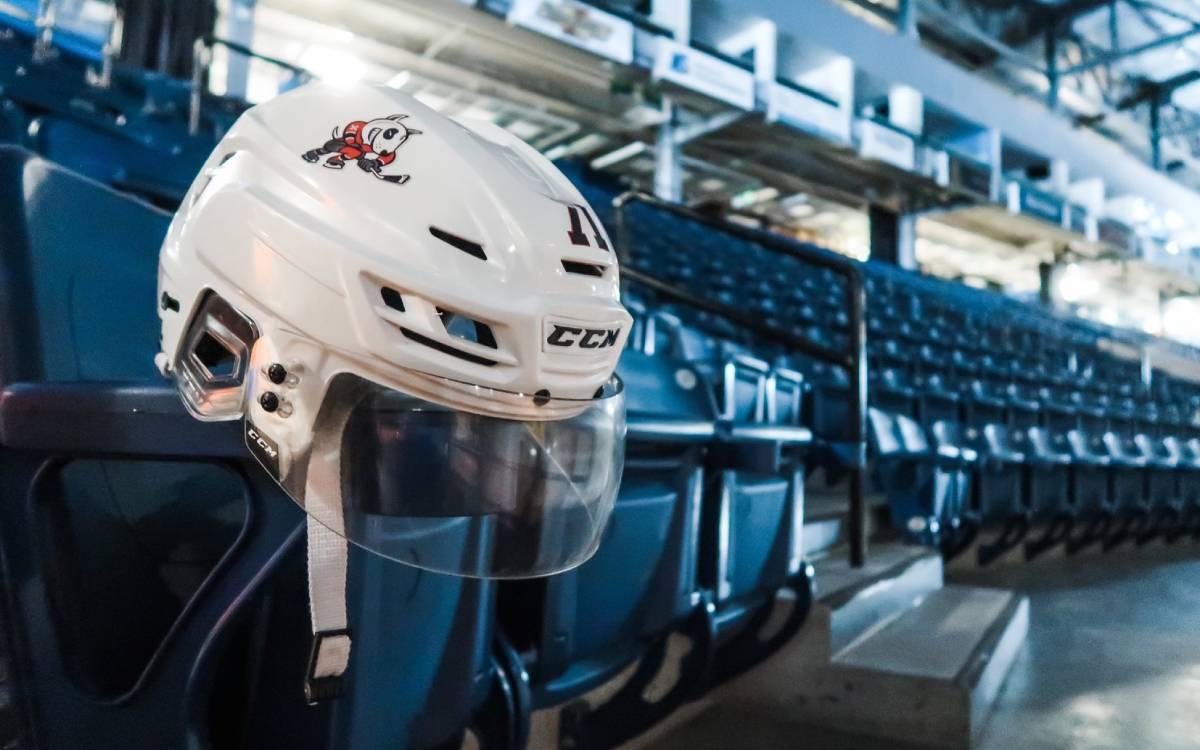 a hockey helmet