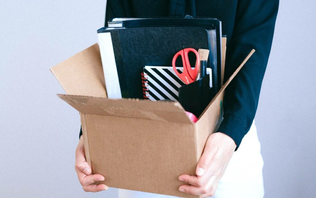 box with office supplies
